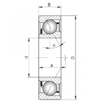 35 mm x 100 mm x 25 mm  ISO 7407 B Rolamentos de esferas de contacto angular